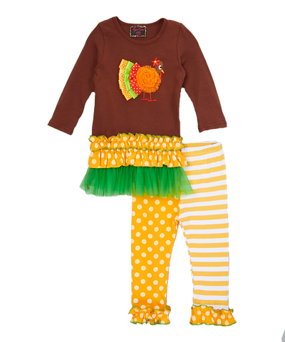 Stripe & Dot Turkey Thanksgiving Pant & Top Set