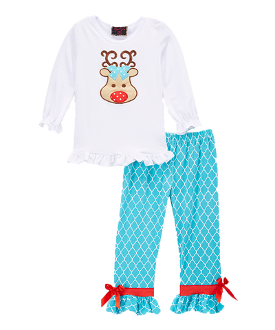 Turqouise Reindeer Christmas Pant & Top Set