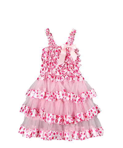 Pink Heart Satin & Chiffon Tiered Dress