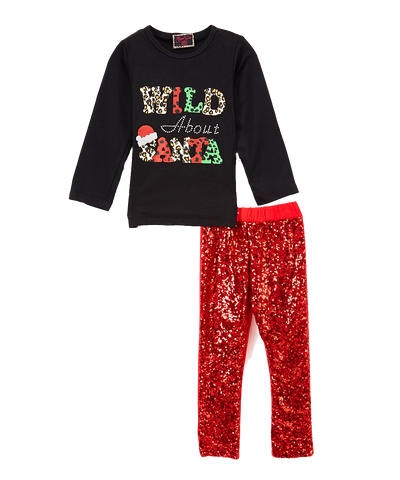 Sequin Wild About Santa Cheetah Pant & Top Set