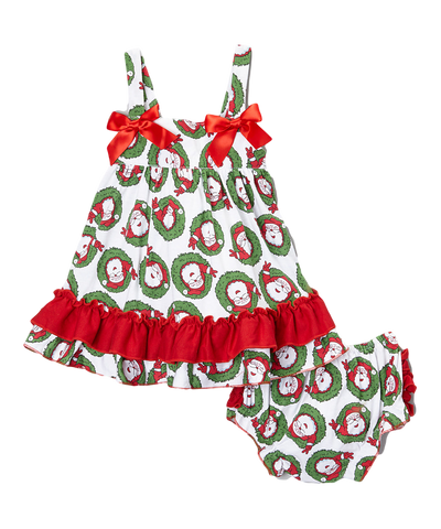 Red & Green Christmas Santa Swing Top & Diaper Cover Set