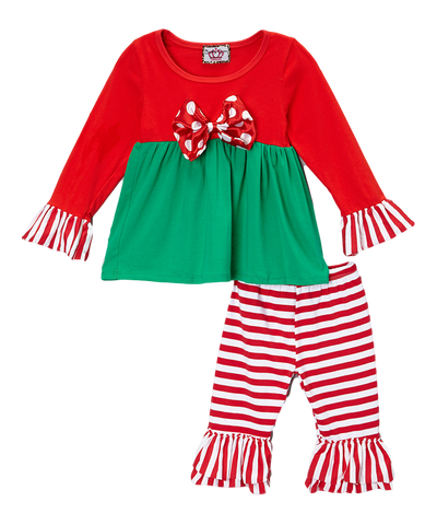 Polka Dot & Striped Red & Green Ruffled Christmas Pant & Top Set