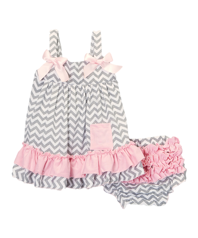 Pink & Grey Chevron Swing Top & Diaper Cover Set