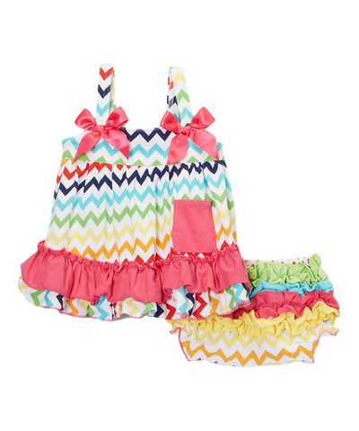 Rainbow Chevron Zig Zag Swing Top & Diaper Cover Set
