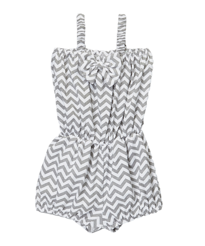 Gray Chevron Cinched Waist Romper