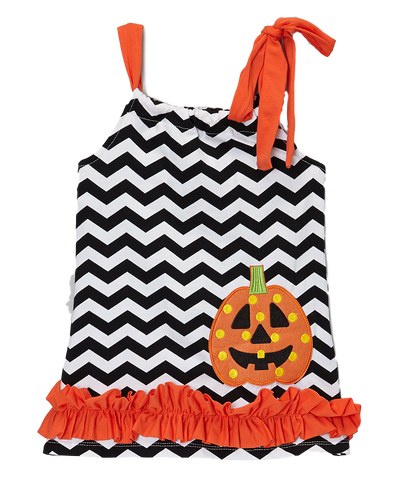 Black and Chevron Ruffle Pillowcase Dress