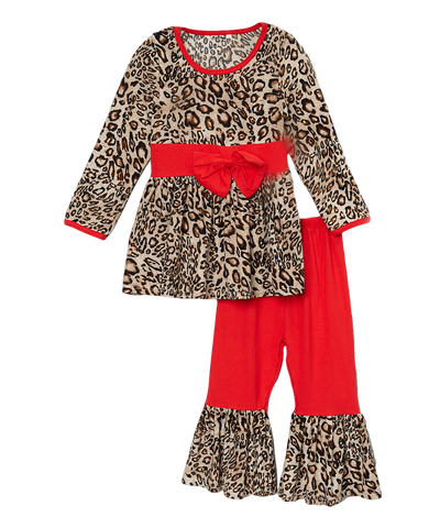 Red Bow & Cheetah Pant & Top Set