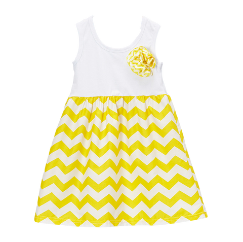 Yellow Chevron Pinwheel Dress
