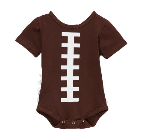 Brown Football Ruffle Tush Onsie Bodysuit