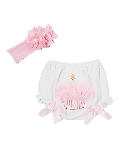 White Lace Birthday Diaper Cover & Pink Headband