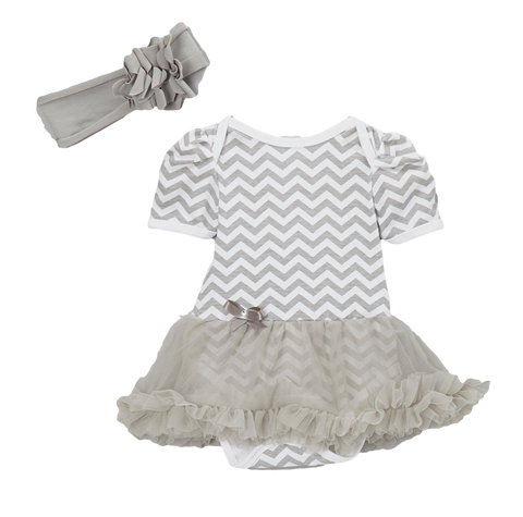 Gray Chevron Skirted Bodysuit Set & Headband