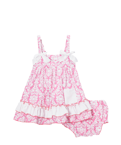 Light Pink Damask Swing Top & Diaper Cover Set