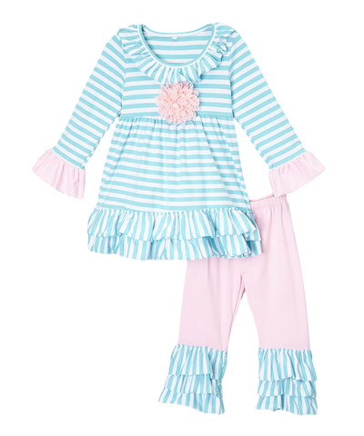 Teal & Pink Striped Rosette Pant & Top Ruffle Set