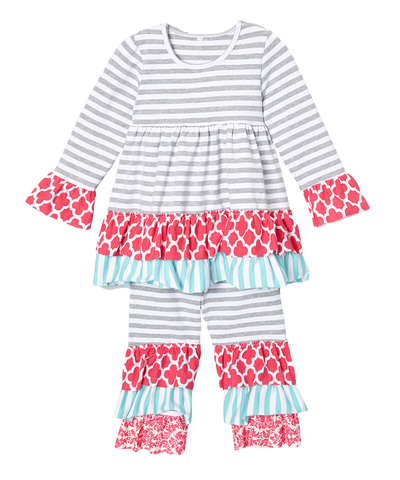 Grey Striped & Pink QuatreFoil Pant & Top Ruffle Set