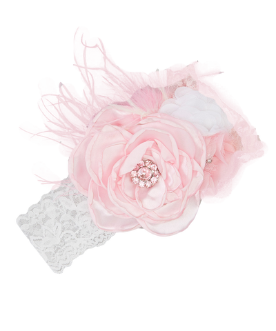 Pink Rhinestone Feather Photoprop Headband