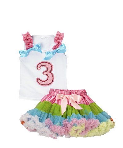 Three 3 Birthday Pettiskirt & Tank Tutu Set