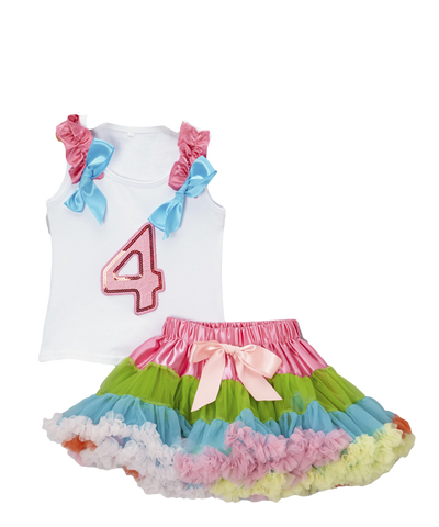 Four 4 Birthday Pettiskirt & Tank Tutu Set