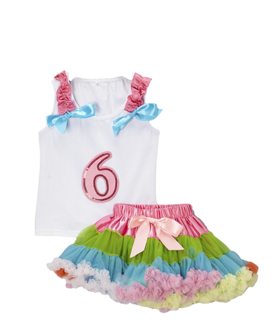 Six 6 Birthday Pettiskirt & Tank Tutu Set