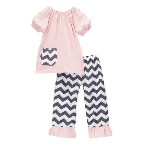 Pink & Grey Chevron Capri & Top Set