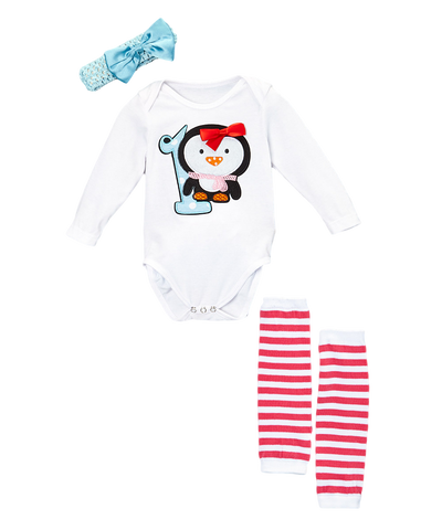 Penguin One Ruffled Bodysuit Set Headband, & Warmers
