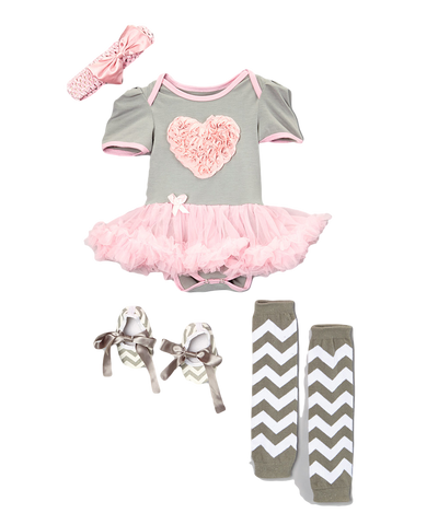 Pink & Grey Heart Skirted Bodysuit Set Headband, Booties, & Warmers