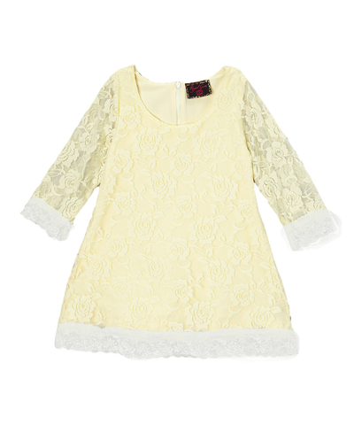 Ivory Lace Overlay Girls Dress
