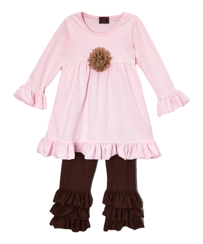 Pink & Brown Rosette Pant & Top Ruffle Set