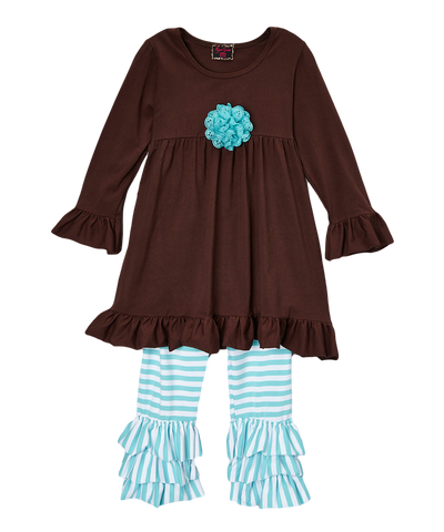 Brown Rosette Striped Pant & Top Ruffle Set