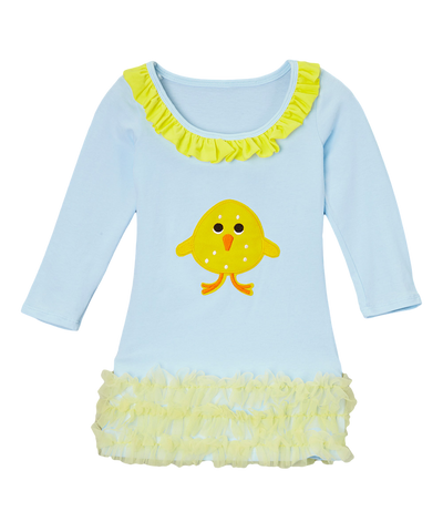 Blue Cotton Ruffle Easter Chick Dress