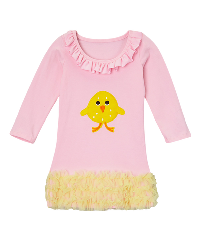 Pink Cotton Ruffle Easter Chick Dress
