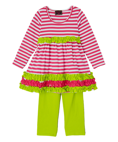 Green & Pink Striped Pant & Top Ruffle Set
