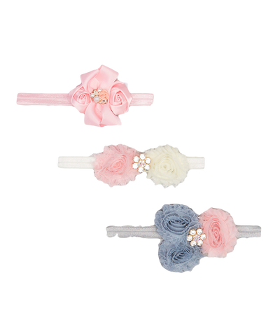3pc Pink Floral Headband Set