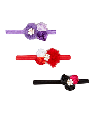 3pc Red & Purple Floral Headband Set