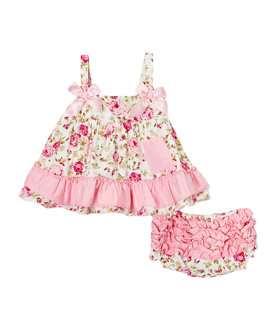 Pink Floral Swing Top & Diaper Cover Set