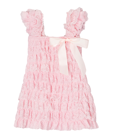 Pink Lace Capsleeve Tiered Flower Girls Dress