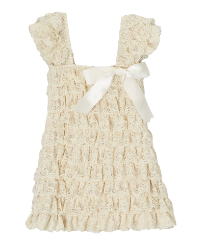 Tan Lace Capsleeve Tiered Flower Girls Dress