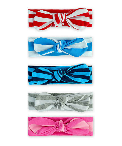 5pc Vintage Turban Knot Headband Set - Striped