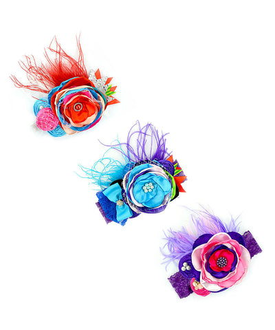 3pc Rainbow Feather & Floral Photoprop Headband Set