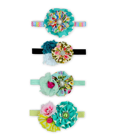 Teal 4pc Floral Headband Set