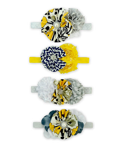 Yellow & Grey 4pc Floral Headband Set