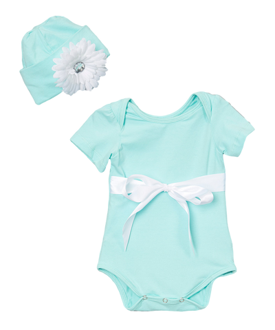 Teal & White Ribbon Onsie Bodysuit & Beanie