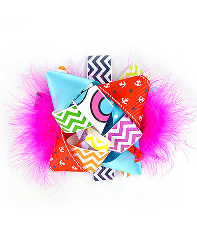 Rainbow Anchor Multiprint Feathered Boutique Bow