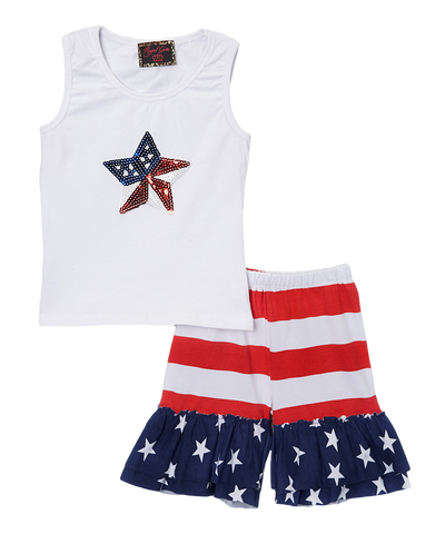 4th of July Sequin Star Tank & Short Set