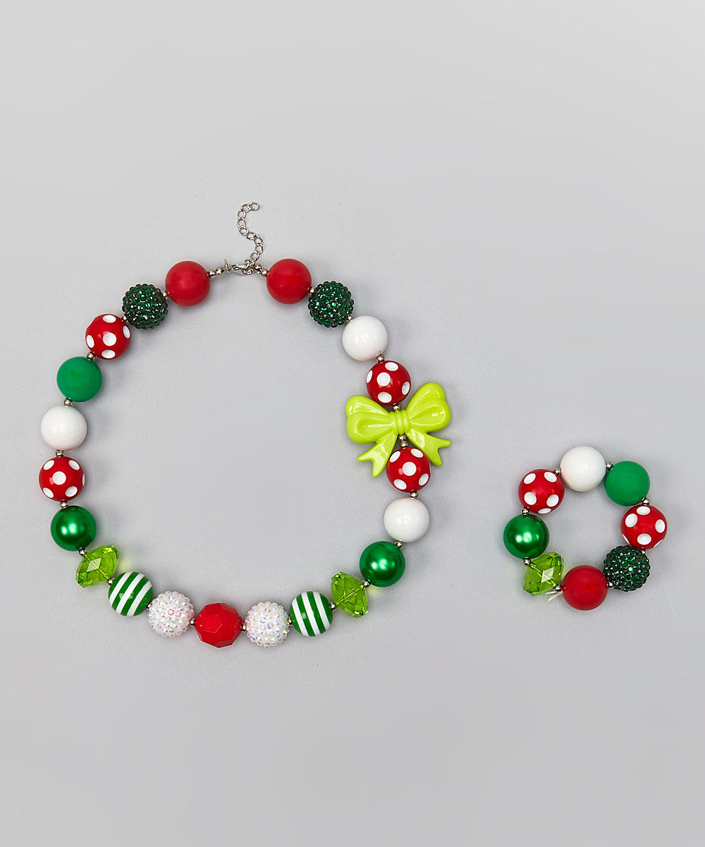 chunky red green christmas necklace