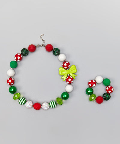 Chunky Red & Green Christmas Necklace