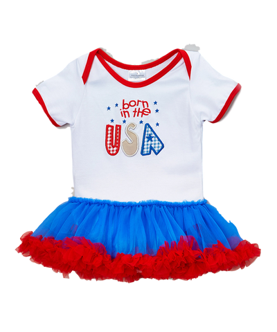 White & Blue 'Born in the USA' Skirted Bodysuit