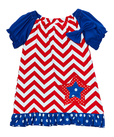 Red & White Chevron Peasant Dress