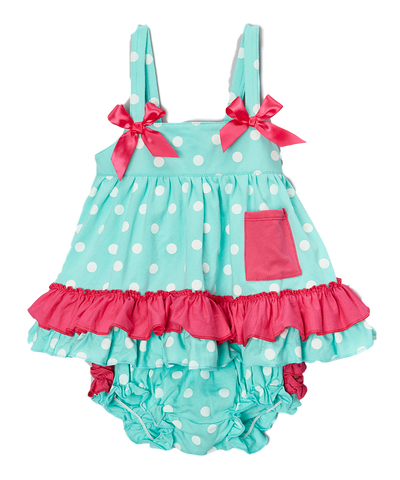 Mint & Pink Ruffle Tank & Diaper Cover Swing Top