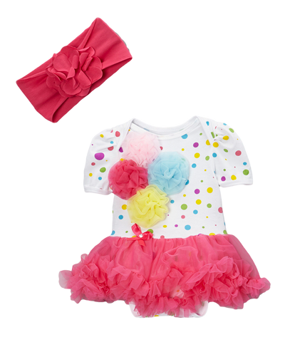 Rosette Clown Dot Skirted Bodysuit Set & Headband