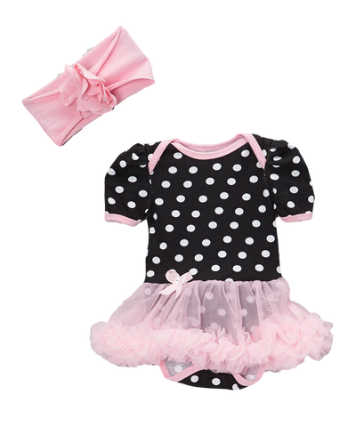 Black & Pink Dot Skirted Bodysuit Set & Headband